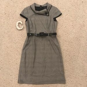 TAHARI Houndstooth Professional Belted Dress 8